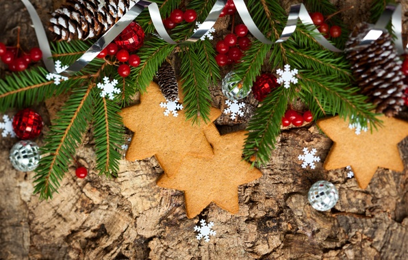 Picture stars, balls, berries, holiday, spruce, branch, New Year, cookies, Christmas, Christmas, bumps, New Year