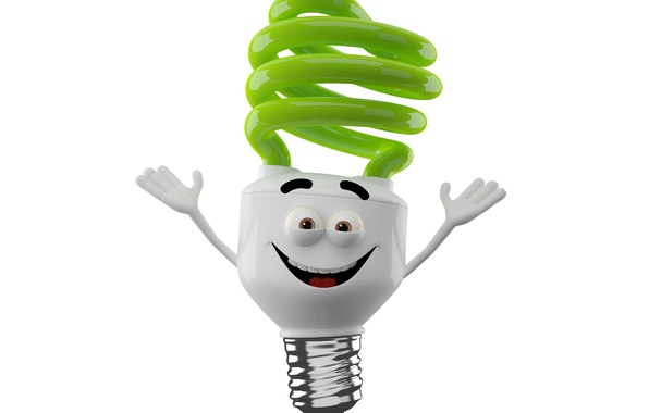 Picture joy, monster light, bright smiling monster on a white background