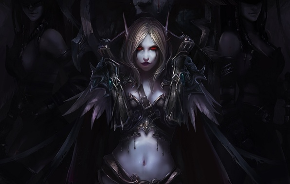 Picture girls, elf, feathers, art, elf, cloak, red eyes, world of warcraft, chenbo, Silvana