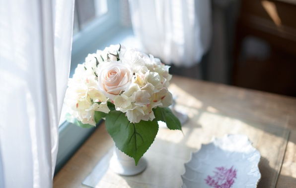 Picture flowers, table, bouquet, vase
