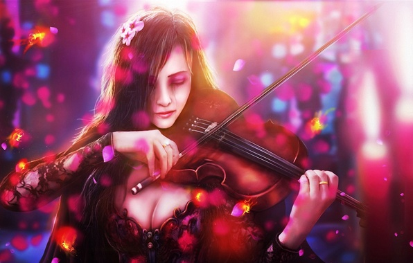Picture sadness, girl, fish, flowers, violin, art