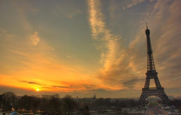 Picture sunset, Eiffel tower, Paris, France
