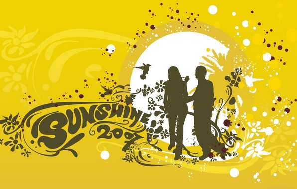 Photo wallpaper sunshine, vector, people, yellow