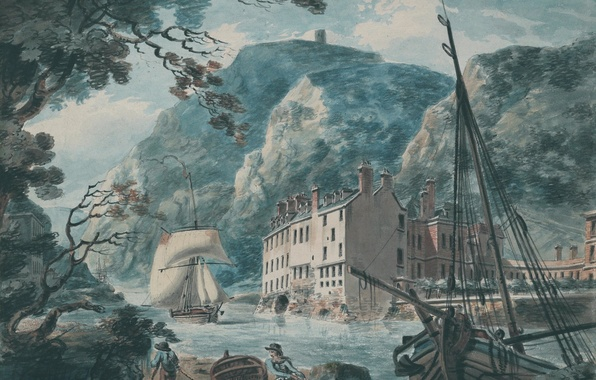 Picture sea, landscape, mountains, ship, picture, watercolor, sail, William Turner, with the Old Hot Wells House, …