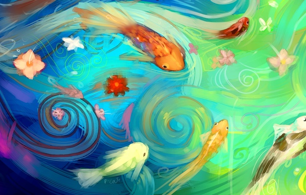 Picture water, fish, fish, flowers, abstraction, art