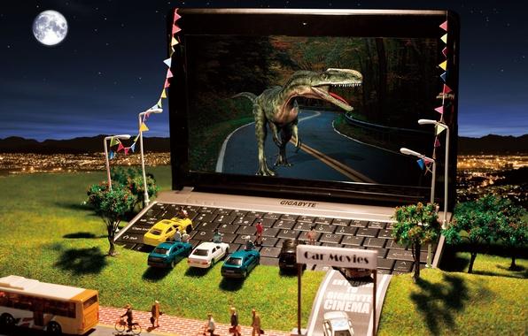 Picture machine, the city, toys, dinosaur, hill, lights, laptop, cinema, netbook, gigabyte, models, miniature