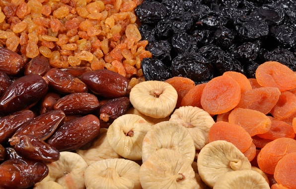 Picture raisins, figs, dried apricots, dried fruits, prunes, dates