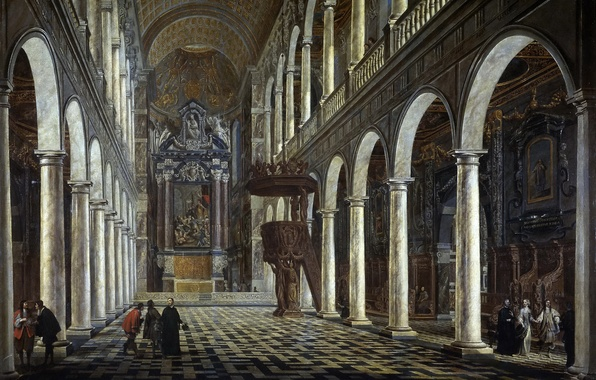 Picture interior, picture, religion, column, the nave, the pulpit, The Jesuit Church in Antwerp, Anton Günther …