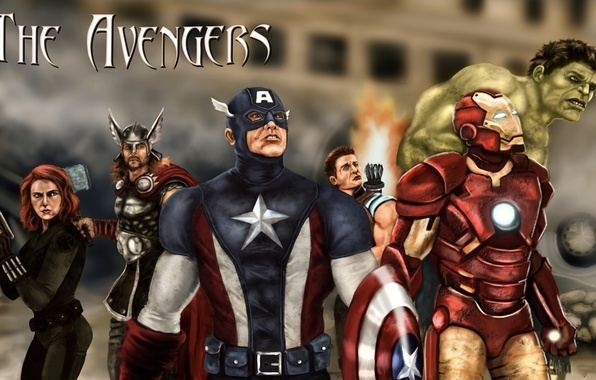 Picture Scarlett Johansson, shield, iron man, Hulk, Thor, captain America, Robert Downey ml, Chris Evans, Mark, …