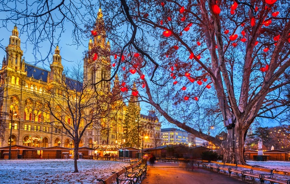 Picture winter, snow, trees, the city, lights, holiday, street, building, the evening, Austria, backlight, Christmas, benches, …