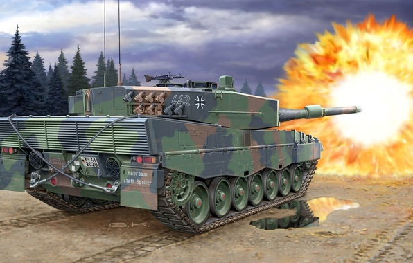 Picture road, the sky, trees, clouds, reflection, flame, figure, shot, puddle, art, tank, camouflage, combat, German, …