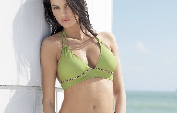 Picture swimsuit, look, Chest, brunette