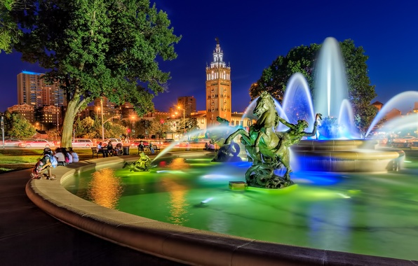 Picture area, fountain, Missouri, sculpture, Kansas City, Missouri, Kansas City, Country Club Plaza, JC Nichols Memorial …