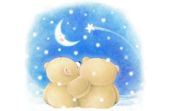 Wallpaper Winter Night Mood The Moon Romance Art Bear Pair