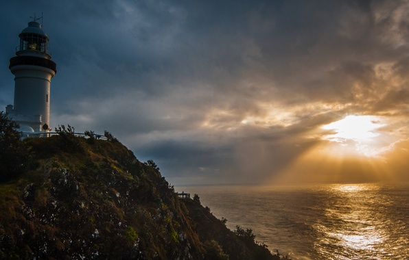 Picture sea, the sun, sunset, clouds, lighthouse