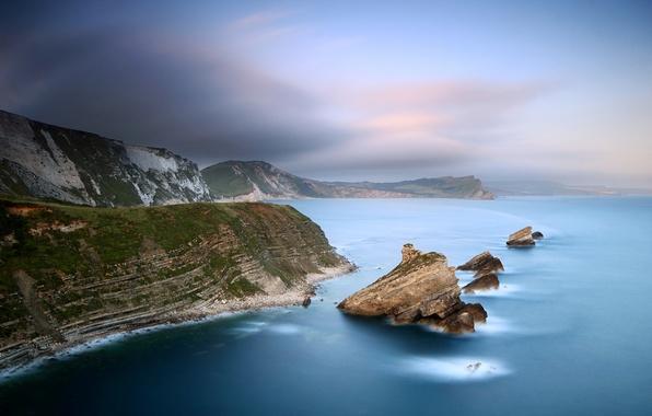 Picture sea, stones, rocks, coast, haze, twilight