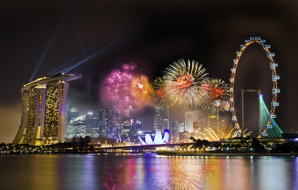 Picture the sky, night, the city, holiday, wheel, Singapore, the hotel, fireworks, Ferris, Singapore, fireworks