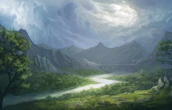 Picture the sky, grass, clouds, trees, landscape, mountains, bridge, river, valley, art, Bruce Mashbat