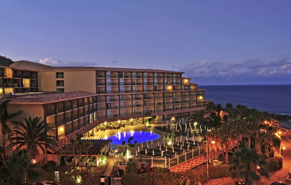 Picture sea, lights, palm trees, coast, the evening, pool, the hotel, Portugal, Oasis, Madeira