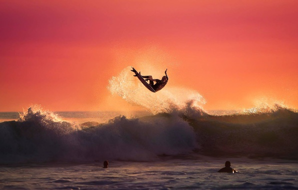 Picture the ocean, jump, wave, surfer, surfing, Board, the trick