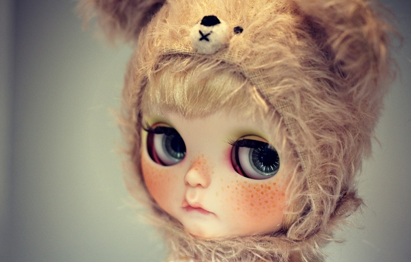 Picture sadness, eyes, look, hat, doll, freckles