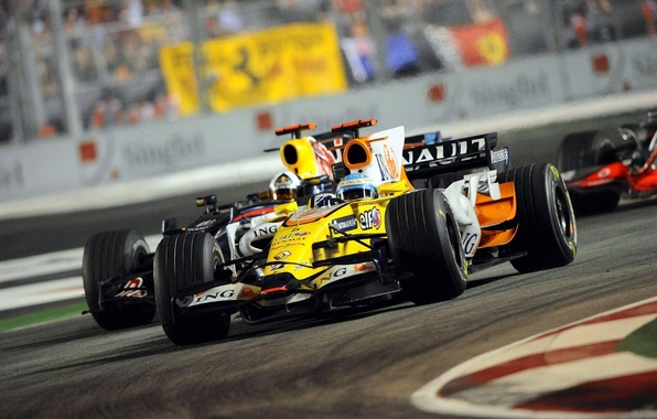 Picture Photo, Lights, Night, 2008, Speed, Race, Track, Formula-1, Fernando Alonso, Wallpapers, The car, Fernando Alonso, …