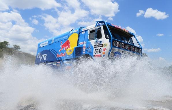 Picture The sky, Water, Blue, Sport, Day, Squirt, Red Bull, KAMAZ, Rally, KAMAZ, Dakar, Dakar, Rally
