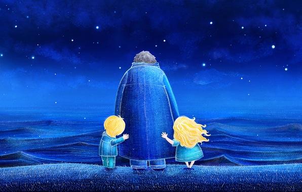 Picture stars, night, blue, nature, children, the ocean, waves, ocean, blue, night, stars, children, draw, illustration