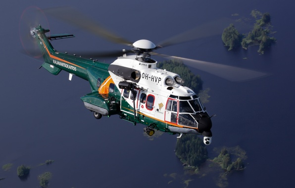 Picture flight, helicopter, Super Puma