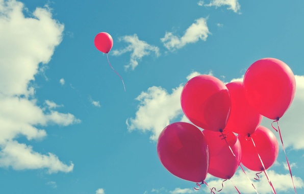 Picture the sky, clouds, balls, joy, balloons, background, holiday, widescreen, balls, Wallpaper, mood, wallpaper, pink, sky, …