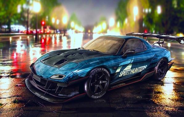 Picture Mazda, Drift, Car, Blue, RX-7, Speedhunters, Nigth, YASIDdesign