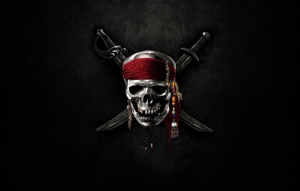 Picture skull, swords, sea, pirates of the Caribbean
