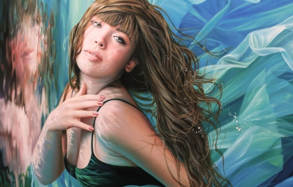 Picture look, water, girl, face, reflection, hair, hands, art, lips, bangs, Christiane Vleugels