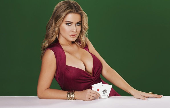 Picture card, chest, look, girl, sexy, figure, blonde, sexy, Carmen Electra, Carmen Electra