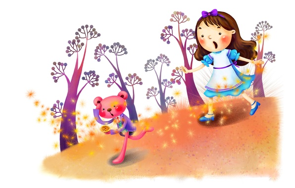 Picture trees, fantasy, figure, watch, tale, girl, animal