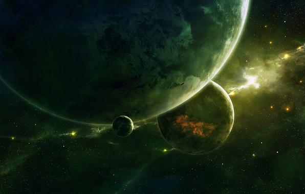 Picture space, planet, art, space, qauz