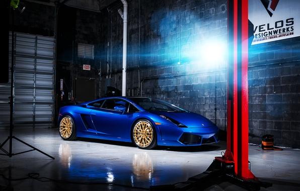 Picture light, Lamborghini, Boxing, Gallardo, Blik, blue, Lamborghini, blue, Lamborghini, Gallardo, lift