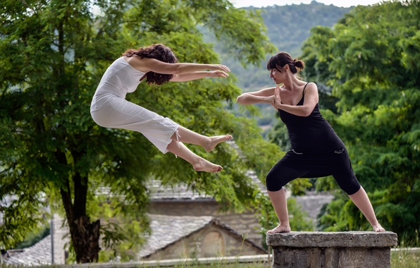 Picture girls, blow, flight, martial art