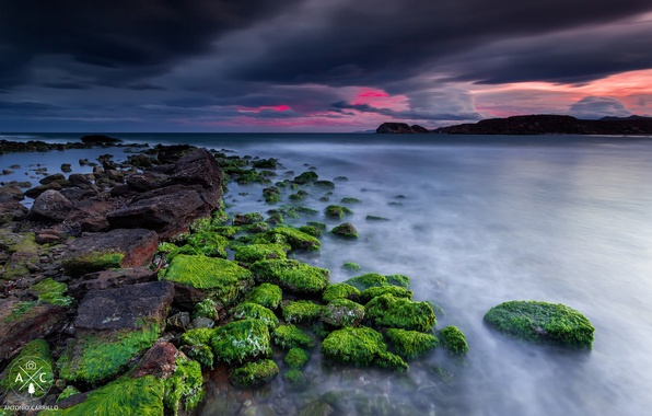 Picture sea, the sky, clouds, rocks, shore, the evening, Spain, Murcia