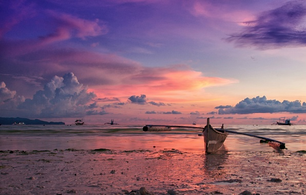 Picture the sky, clouds, sunset, the ocean, shore, boat, island, the evening, Philippines