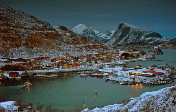 Picture sea, the sky, mountains, home, Bay, the evening, Norway, boat, town, the village, fjords