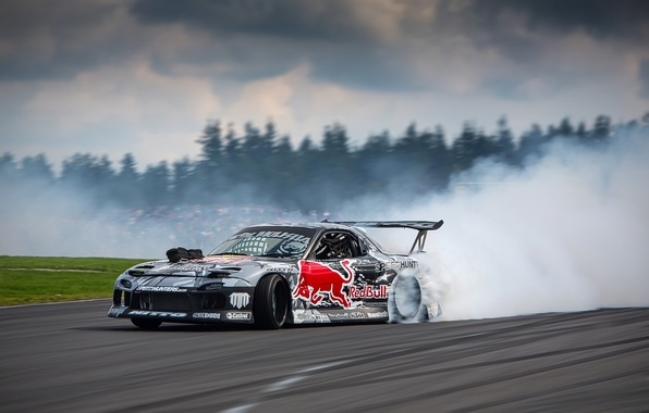 Picture road, race, smoke, skid, drift, Mazda, track, Red Bull, drifting, Rx7, sprot