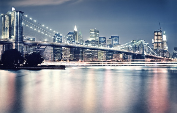 Picture light, the city, New York, Brooklyn, Brooklyn bridge, Manhattan, USA, new york, Brooklyn Bridge