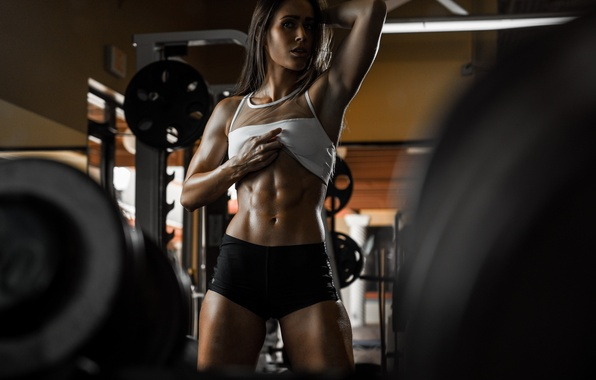 Photo wallpaper look, face, model, hair, figure, fitness, Valentina, press, the gym
