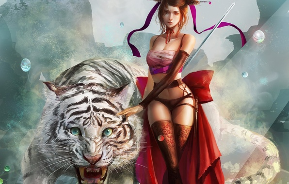 Picture look, girl, tiger, fiction, animal, hair, stockings, art, knife, ribbons