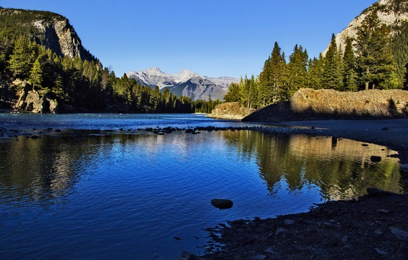 Picture forest, the sky, the sun, trees, mountains, lake, rocks, shore, Canada, Banff National Park, Canada, ...