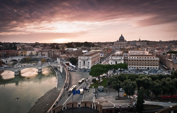 Picture road, the sky, water, trees, bridge, the city, people, street, building, home, Italy, the Vatican