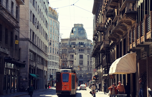 Picture road, machine, the city, people, street, building, home, Italy, tram, architecture, Milan, Italy, Milan, Milano