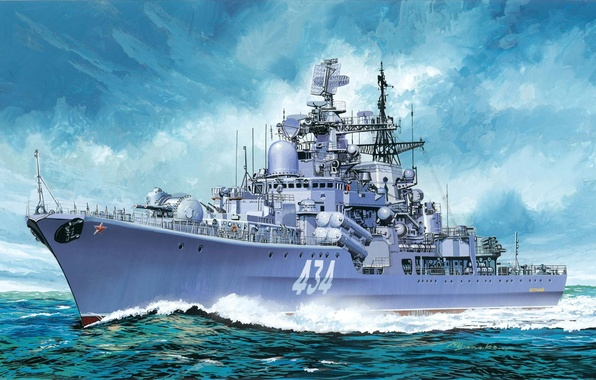 Picture art, artist, helicopter, Navy, destroyer, Ka-27, destroyer, Flawless, The Soviet Navy of Russia, support aviation …