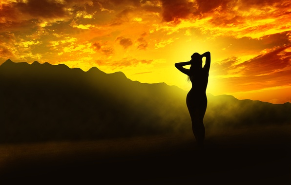 Picture girl, light, sunset, mountains